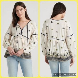Lucky Brand Border Print Peasant Long Sleeved Top